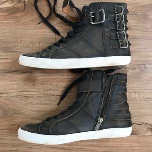 Frye Dylan Belted High Top Sneaker Black 7.5M